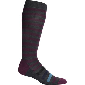 Icebreaker Lifestyle Light OTC Legacy Stripe Calcetines Mujer, jet heather